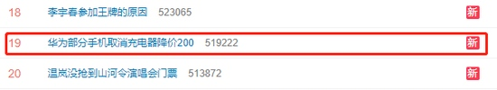 #华为部分手机取消充电器降价200#上热搜网友降价了可以接受