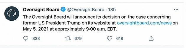 Facebook将在周三宣布是否恢复特朗普的账号