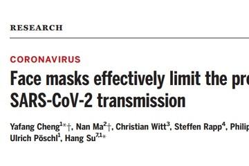 戴口罩可限制新冠传播这还能发Science